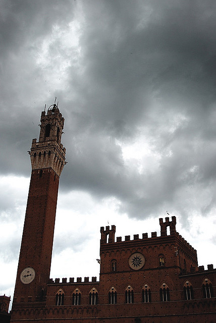 | ♕ |  Stormy Siena - Torre di Piazza  | by © Bruno Brunelli | via svoice   My friend photographer Bruno takes these magnificent photos of Italy, always capturing some silent scenic drama.