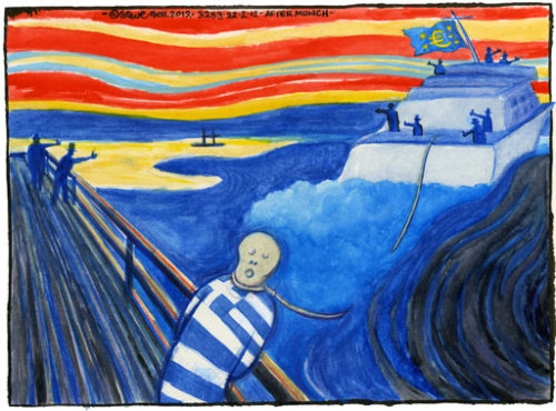Steve Bell's cartoon on the Greece bailout deal [Scale of cuts required to implement rescue package prompts analysts to raise spectre of another debt crisis later this year]