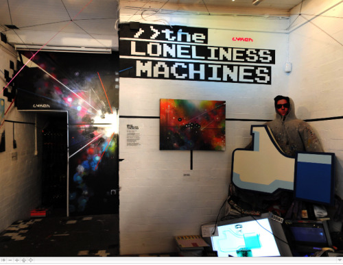 360 Moveable Panorama. The Loneliness Machines. Mark Lyken Solo Exhibition. Click the Image & Move through the full 360 Degrees of The Loneliness Machines Exhibition. All work created by Lyken in the space during his Recoat Gallery residency. Panorama Courtesy of FiST. Remaining Work Available from Recoat Here.