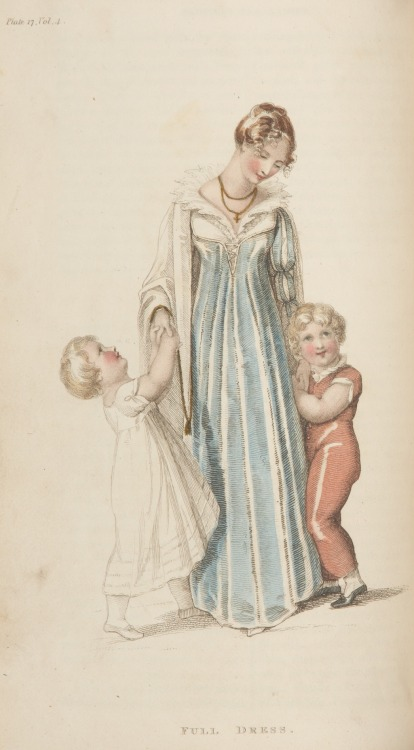 "Ackermann's Repository, Full Dress, September 1810.  This is a fascinating outfit that doesn't really look like many other gowns I've seen from the period.  Notice that there isn't a waist seam!  It is described in the text as a ""French Gored Gown,"" but I don't know what that means, unfortunately.  My best guess is that the gores are in the skirts, which allows the fullness, but that is only a guess.  Are any of my readers familiar with this term?"