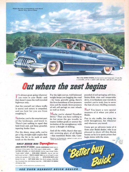 funnster:  1949 Buick ad.  One word: Amazing!! We love the old vintage ads like this one!
