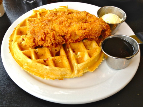 Chicken & Waffles @ Bacon in Austin.