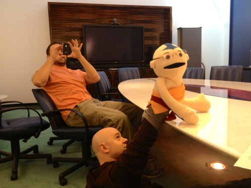 bryankonietzko:  Thanks to Kevin Coppa for making this fantastic puppet, and especially for giving it to us. Although, as you can see, Mike is pretty attached to this one, so no one will stop you, Kevin, if you want to give *ME* a Korra puppet. I think it is only fair.