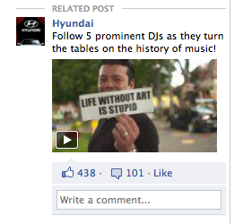 "An Expert Take on Facebook Display Advertising  Well, done, Hyundai. This take on an online display ad is one of the better I've seen.  Hyundai is sponsoring the production of a film that will hit the cultural ""nail"" of our times right on the head, from a musical perspective at least. The photo used for the ad captures a person holding a sign explaining ""Life without art is stupid.""  Bravo!  Marketers that realize ad space on social networks requires a strong, human, more emotional tone will prevail; all others will find themselves dated. I applaud this creative, the stance that Hyundai is taking in concept and direction, and general movement our industry is taking.  Shoot me your thoughts @josepholesh. See the project here: http://www.regenerationmusicproject.com/"