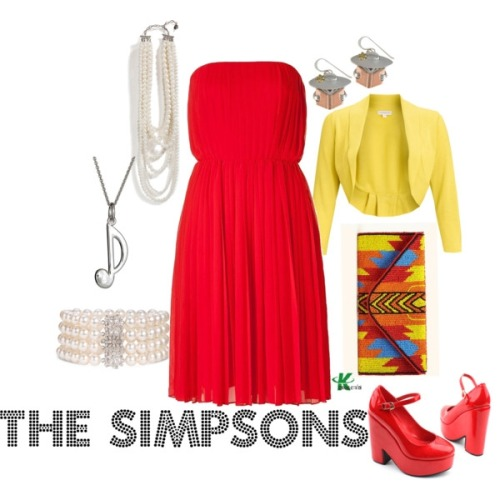 wearwhatyouwatch:  My creation inspired by animated character Lisa Simpsons of The Simpsons. **Mimicking Lisa's classic red dress and shoes, with the pearl necklace that she's always wearing.  I've paired the outfit with a matching pearl bracelet, a music note necklace for her love of the saxophone and a pair of reading earrings for her smarts. http://kerogenki.polyvore.com/