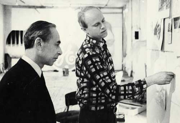 James Rosenquist (right) and Leo Castelli