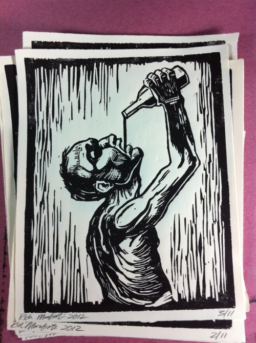 8 x 10 hand carved and printed lino cut. For sale $20, limited run of ten prints. If interested please contact me at richmarafioti@gmail.com Rich Marafioti, 2012 www.richmarafioti.com Family Tattoo  Chicago