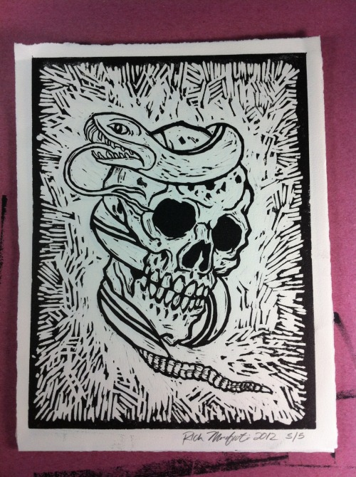 9 x 12 hand carved and printed lino cut. For sale $30, limited press. If interested please contact me at richmarafioti@gmail.com Rich Marafioti, 2012 www.richmarafioti.com Family Tattoo  Chicago