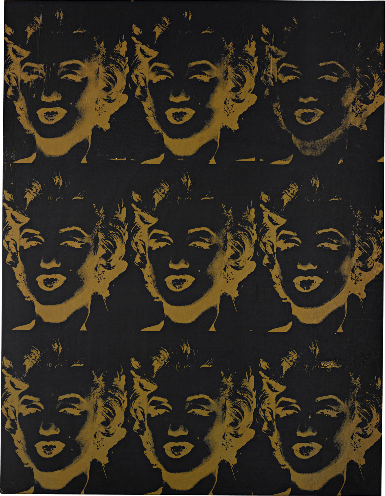 "phillipsdepury:  Andy Warhol's Nine Gold Marilyns (Reversal Series), 1980, sold for $7,922,500 at the Contemporary Art Part I sale, 7 November 2011, New York. Nine Gold Marilyns (Reversal Series), 1980, represents a major turn and a seminal zenith in Warhol's career. After he had spent his early years enshrining the photographic existence of Monroe and other celebrities, Warhol returned to the same subjects with a different technical approach and a nostalgic artistic mission. The Reversal Series began with an enormous collage of Warhol's previous artistic subjects in his Retrospective paintings of 1979. Instead of utilizing the developed image that he originally took from magazines and production stills, Warhol employed the use of the negative for each. The resulting images appear the way we might see them when we quickly shut our eyes: saturation fills the space of the pictures' shadows, and darkness becomes light. Both the frame and the ground of the image, once bright with the photographer's original lighting, become their opposite. Warhol followed this singular collage in the coming years with single or multiple ""reversals"" of each image. Many of these paintings possess a canvas of animated coloring, with the silkscreen laid over top.But Nine Gold Marilyns (Reversal Series), 1980, entertains no such intrusions of the 1980s' indulgences in overanimation. Instead, in its restrained and elegant gold, it draws upon a color that Warhol first utilized in the center of his soup cans. In its return to only a single color in order to illustrate a single unique image, the present lot is a pure demonstration of Warhol's original silkscreening technique."