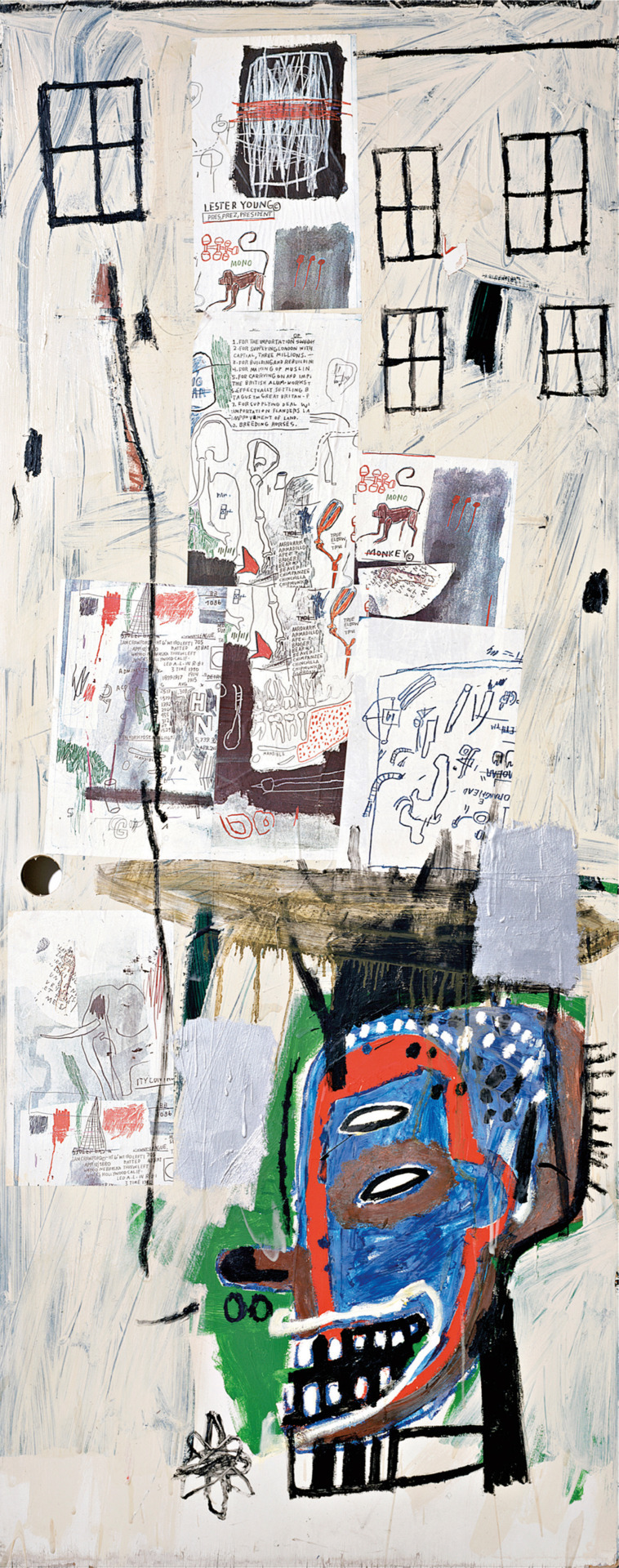museumnerd:  Why are there almost never works by Basquiat on display in NYC museums? phillipsdepury:  Jean-Michel Basquiat's Overrun, 1985 sold for £1,127,650 at the Contemporary Art Evening Sale, 17 February 2011, London. In a manner similar to the French painter Jean Dubuffet, Overrun's  heavily vertical format and its five black window frames at the top are  suggestive of a vibrant urban landscape. Basquiat was greatly influenced  by the high-rise skyscrapers of his native New York City and  continuously referenced it. His teenage years spent as a wandering  homeless artist, during which time he tagged mysterious and witty  statements under the pseudonym SAMO, left a lasting impression. Art  historians have long drawn comparisons with Jean Dubuffet's childlike  and naïve style and his lack of interest in rationally coherent  compositions with a central perspective – a comparison most striking  when comparing Dubuffet's series Views of Paris with Overrun. Like  Basquiat, Dubuffet made graffiti the central motif of his art.Another  important feature to be seen here, and which can be seen elsewhere in  Basquiat's output, is the use of language, in the form of consciously  child-like scribbles and cryptic writings. While painting in the  basement of Annina Nosei's gallery, Basquiat had a book open to pages  illustrating Twombly's large, lyrical compositions which incorporate  text and image. While recalling similar inscriptions in the works of  Jean Dubuffet and Cy Twombly, Basquiat's words, whether crossed out,  repeated, or naively spelled, signify both the urgency and power with  which he could communicate through his art. Paradoxically, this was an  ability he so cruelly lacked in the real world so it is all the more  affecting when seen in his paintings.   I've wondered the same, I've only seen the best basquaits on view at either Christies previews or Pace Wildenstien gallery.