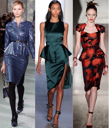 Peplum looks from Tory Burch, Peter Som and Zac Posen. Hop on over to Glamour.com to see how Young & Posh blogger Penny Chic recreated the look for under $100.
