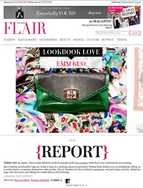 Press: Spring 2012 lookbook shot by The Coveteur featured on Savoir Flair