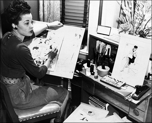 "Jackie Ormes, first African-American cartoonist, drawing her character ""Torchy Brown."" Thanks to Kate Beaton for introducing her!"