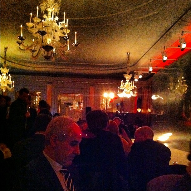Chandeliers & cabaret tables at the #Rake runway. Bring on the dancing girls #lfw #attheshows  (Taken with Instagram at Claridge's Ballroom)