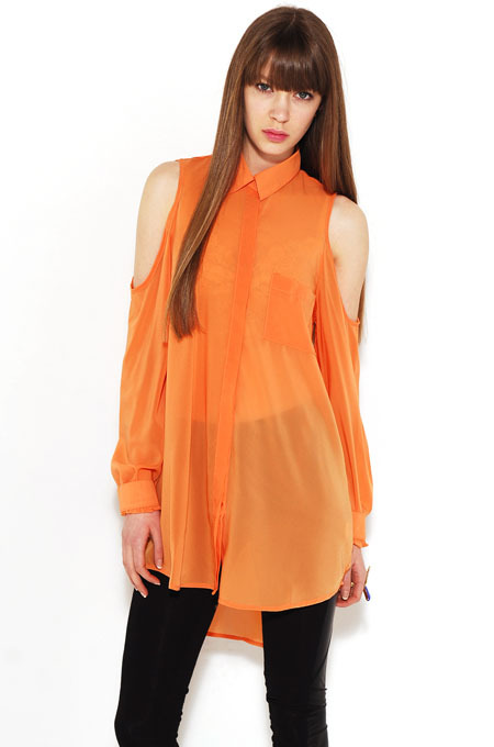 AKIRA Red Label Open Shoulder Boyfriend Tunic in Orange