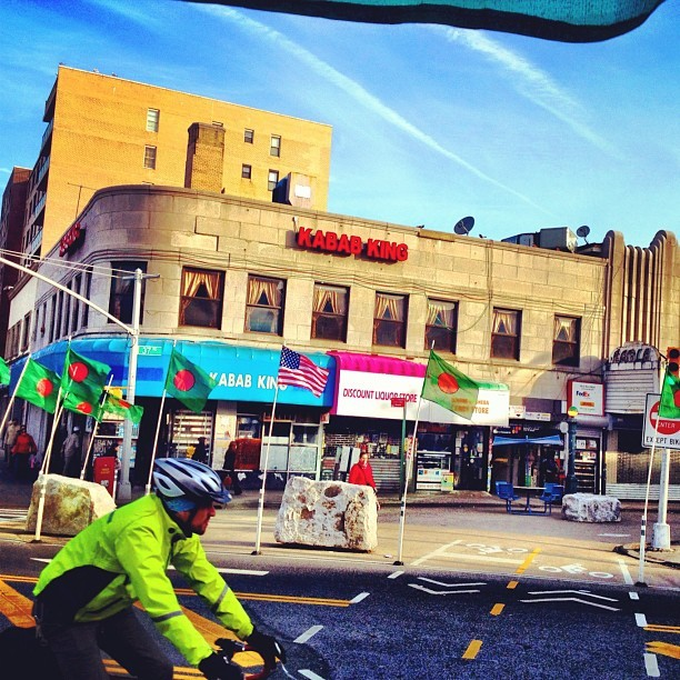 Cyclist, Broadway.marcuswoollen:  New #bikenyc infrastructure in #jacksonheights  (Taken with instagram)