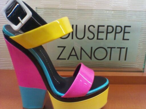 Pink is the Trend! Yellow as a pop! Blue to be cool! This colorblocked Giuseppe Zanotti sandal has it all and then some!
