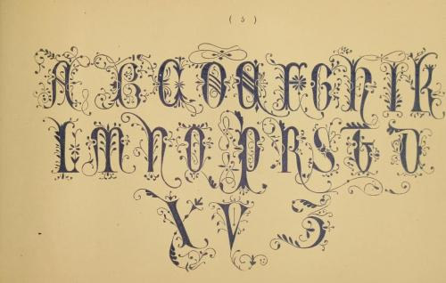 Another sample alphabet from The embroiderer's book of design : containing initials, emblems, cyphers, monograms, ornamental borders, ecclesiastical devices, mediæval and modern alphabets, and national emblems (1891)