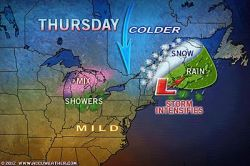 Huge Contrast in East: Unusual Warmth vs. Snow  Whether or not warmth reaches you in the East Thursday into Friday will depend on which side of the meteorological fence you are on.