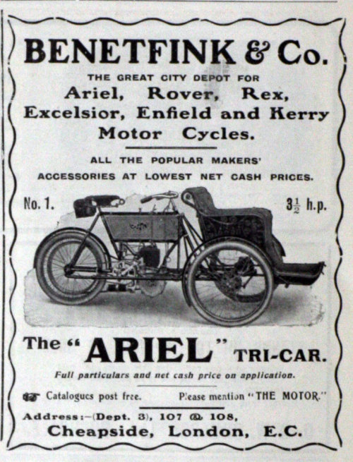 "~ ""Ariel"" Tri-Car,  Benetfink and Co., May 1904via Grace's Guide(click to enlarge)"