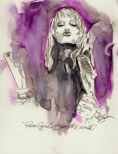 "eatsleepdraw:  ""papergirl burn the world"" Otep watercolor"