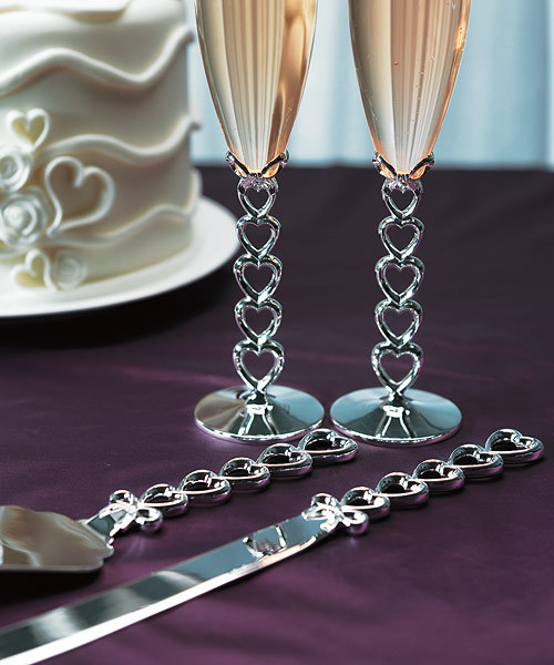 Stacked hearts cake serving set (matching flutes sold separately) Engraving also available Click here for more details