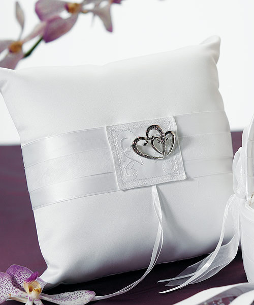 Classic double heart ring pillow Click here for more details