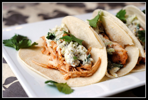 Slow Cooker Chicken Tacos with Blue Cheese Slaw