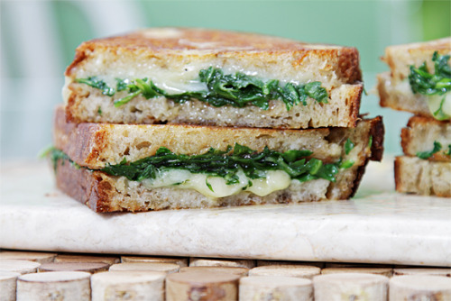 gastrogirl:  grilled cheese with garlic confit and baby arugula.