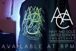 gold and navy sweatshirts are now up! http://actappalledclothing.bigcartel.com/product/aac-navy-and-gold-limited-edition-mountains-sweatshirt