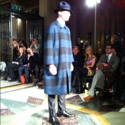 Oversized checks, sharp tailoring & flashes of red lining at @ETautz #LFW #ETautz #attheshows  (Taken with Instagram at Freemason's Hall)