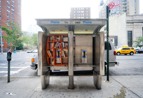 Phone booth library.