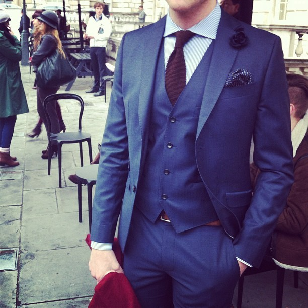 Lots of guys rocking three piece suits today at #lfw. Doesn't get much sharper than that #attheshows (Taken with instagram)