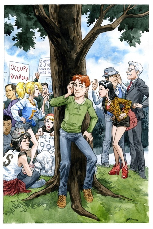 "Newsy Bits Archie and the gang are going to Occupy Riverdale, with a variant cover by Jill Thompson and interior art by Gisèle Lagacé. Leah Moore and John Reppion will be writing their first 2000AD property, a Judge Dredd story entitled ""Scouting for Bots"", will appear in Judge Dredd Megazine #322, on sale in the UK on March 28th and in North America on April 11th.""We are really excited to be finally working for the comic we have all grown up with (some of us more than others!). I remember my dad taking me to the 2000 AD office when I was small (maybe eight?) and meeting Tharg in the flesh! I said ""Borag Thungg, O Mighty One"". He said ""Borag Thungg, Earthlet Leah"". It was awesome. It's nice to see that bit of early networking paid off over two decades later.""  Carla Speed McNeil's Finder: Voice has been nominated for a Los Angeles Times Book Prize in the Graphic Novel category. Vera Brosgol's Anya's Ghost has been shortlisted for the Graphic Novel Bram Stoker Award. Check out this collection of character designs from the works of Alex De Campi, including Valentine headshots by Cassandra James.  In other De Campi news, after a falling out with her original Ashes collaborator, a dozen other artists have pitched in to draw one chapter each, including Colleen Doran,"