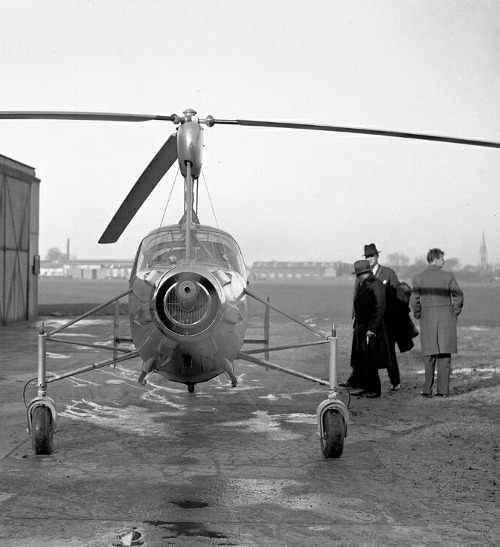 """The Westland CL 20 Autogiro outside the Cierva Autogiro Company sheds at Hanworth."" (via)"