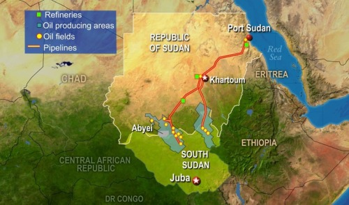 newshour:  South Sudan has most of the oil reserves, and Sudan to the north has most of the pipelines and processing facilities, along with the Red Sea port used to export the oil.  It's a symbiotic relationship that was supposed to motivate the two countries toward a resolution.