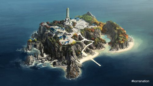 An aerial shot of Air Temple Island, this background painting shows the home of Tenzin and his family.  The temple was originally built by Avatar Aang. 2/23/2012