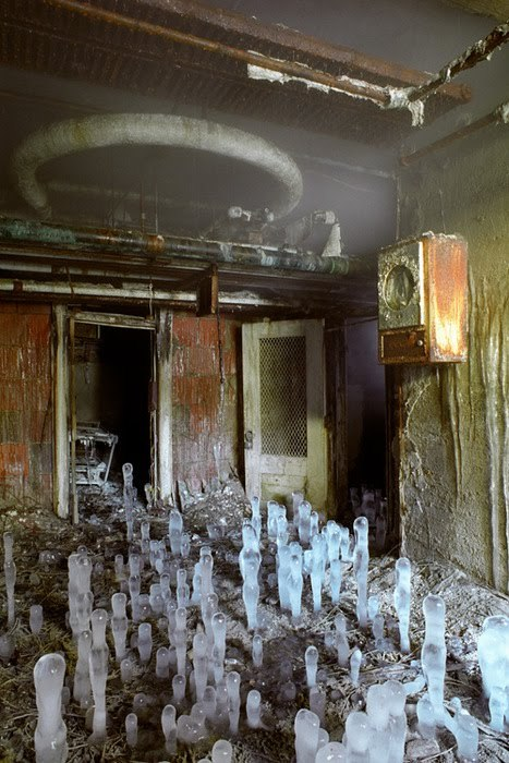 korse:   Ice stalagmites in the basement of Greystone Park State Hospital.  Like lil frozen ghosts holding vigil