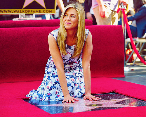 "Jennifer Aniston became the first member of the ""Friends"" television series to be immortalized on the Hollywood Walk of Fame. (02/22/12)"