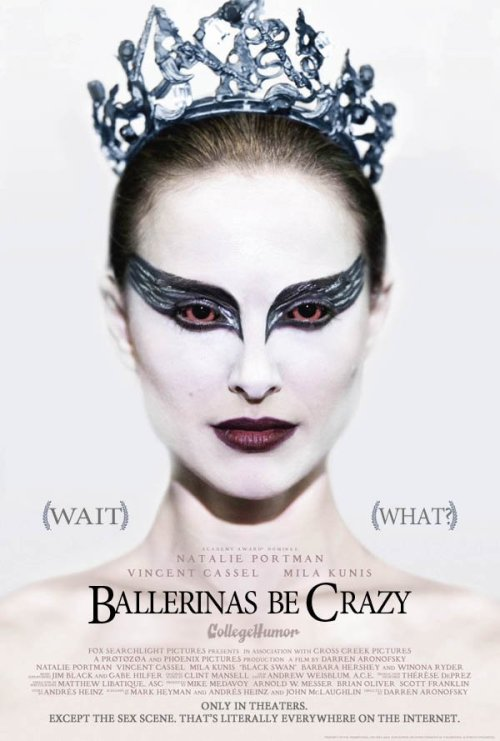 collegehumor:  Honest Movie Titles: Oscars 2011 Black Swan: Ballerinas Be Crazy  Wait…what? :D (Click the link, they're all hilarious)