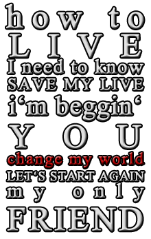One of my favorite lyrics EVER!! Great Song!