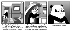I have been remiss in my duties. Forgive me. Here is the latest Panda comic, regarding hotels. Link here. More here.