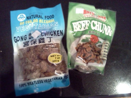 "WAIT! That's not meat!!!!! I bought this ""beef"" and ""chicken"" from a health food store near my place, Watkins Health Foods.  They have everything for your vegan and vegetarian needs!  Anyway, my old roomate, who is vegan used to bring these veg chunks back from Jamaica and they were delish so I thought these might be similar.  I used the ""beef"" in my dinner tonight. Pic and description to follow!"