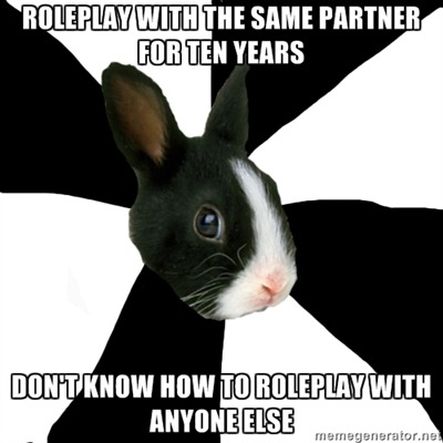 fyeahroleplayingrabbit:  It's been literally ten years. I don't know how to roleplay with people who can't read my mind. ;_______; Submitted by Mad-EyeMadi.
