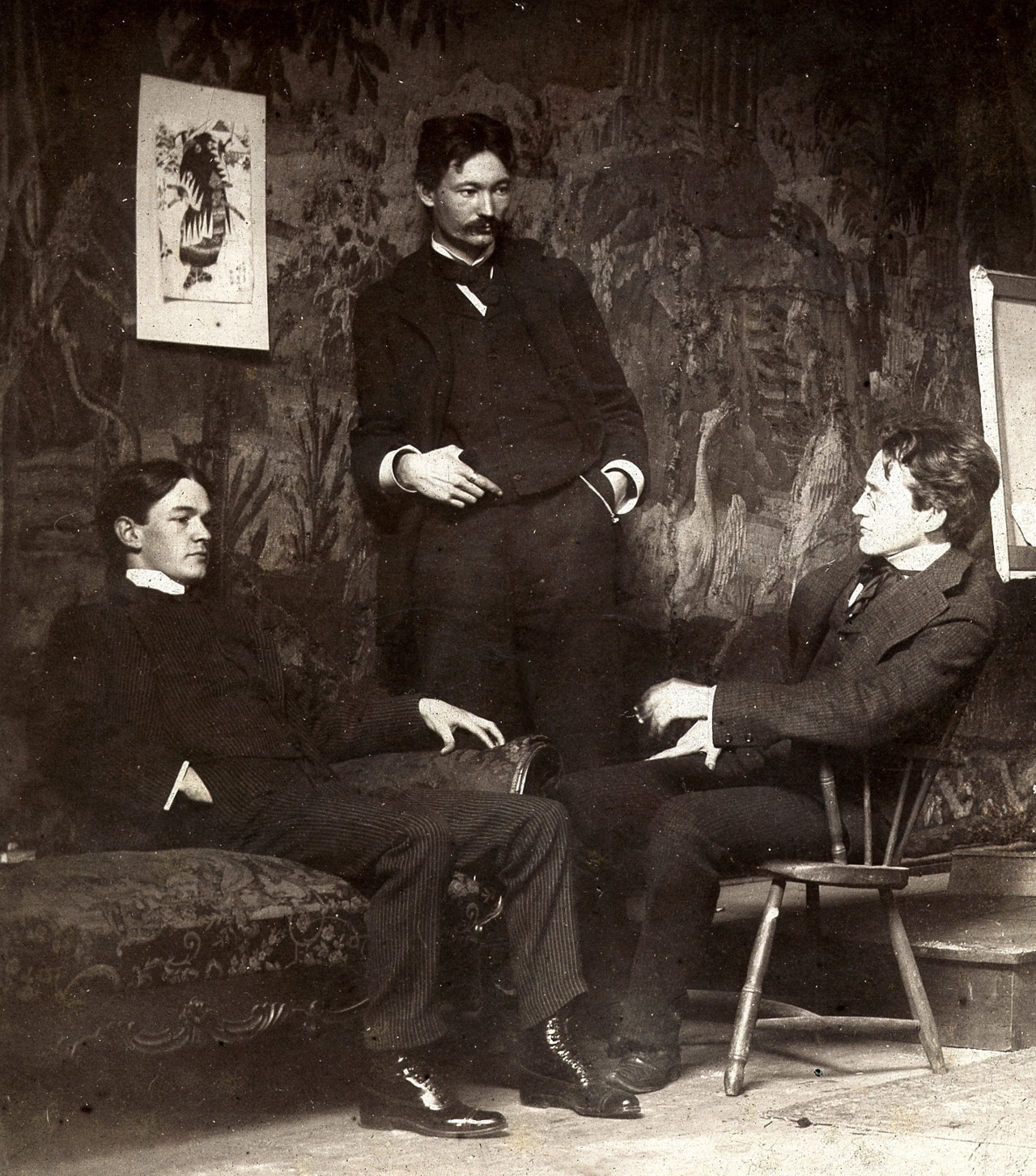 "Everett Shinn, Robert Henri and John Sloan, ca. 1896; members of the group, ""The Eight."" src"