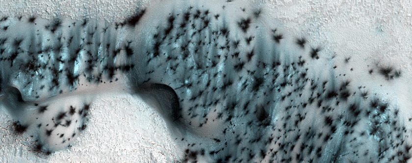 Crescent-shaped sand dunes on Mars covered in seasonal frost. Extraterrestrial beauty.  (via HiRISE | Well-Speckled Polar Dunes (ESP_025579_2580))