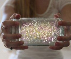 Fairies in a jar DIRECTIONS:  1. Cut a glow stick and shake the contents into a jar. Add diamond glitter  2. Seal the top with a lid.  3. Shake SO COOL!!