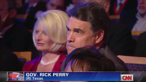 "kileyrae:  afternoonsnoozebutton:  RICK PERRY AND CALLISTA GINGRICH CAMEO TIME  RICK PERRY SIGHTING. SOMEONE CALL TEXAS AND TELL THEM HE'S ALIVE.   Rick Perry has this look like ""Damn it, I wanna sound like a racist jerk and talk about the illegals too :(""."