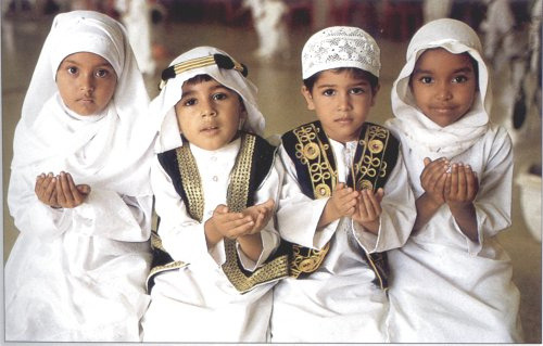 Muslim children posing for pictures