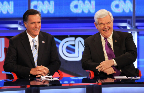 "Asked at tonight's CNN debate to describe himself in one word, Newt Gingrich replied, ""Cheerful."" (Photo by Justin Sullivan/Getty Images)"